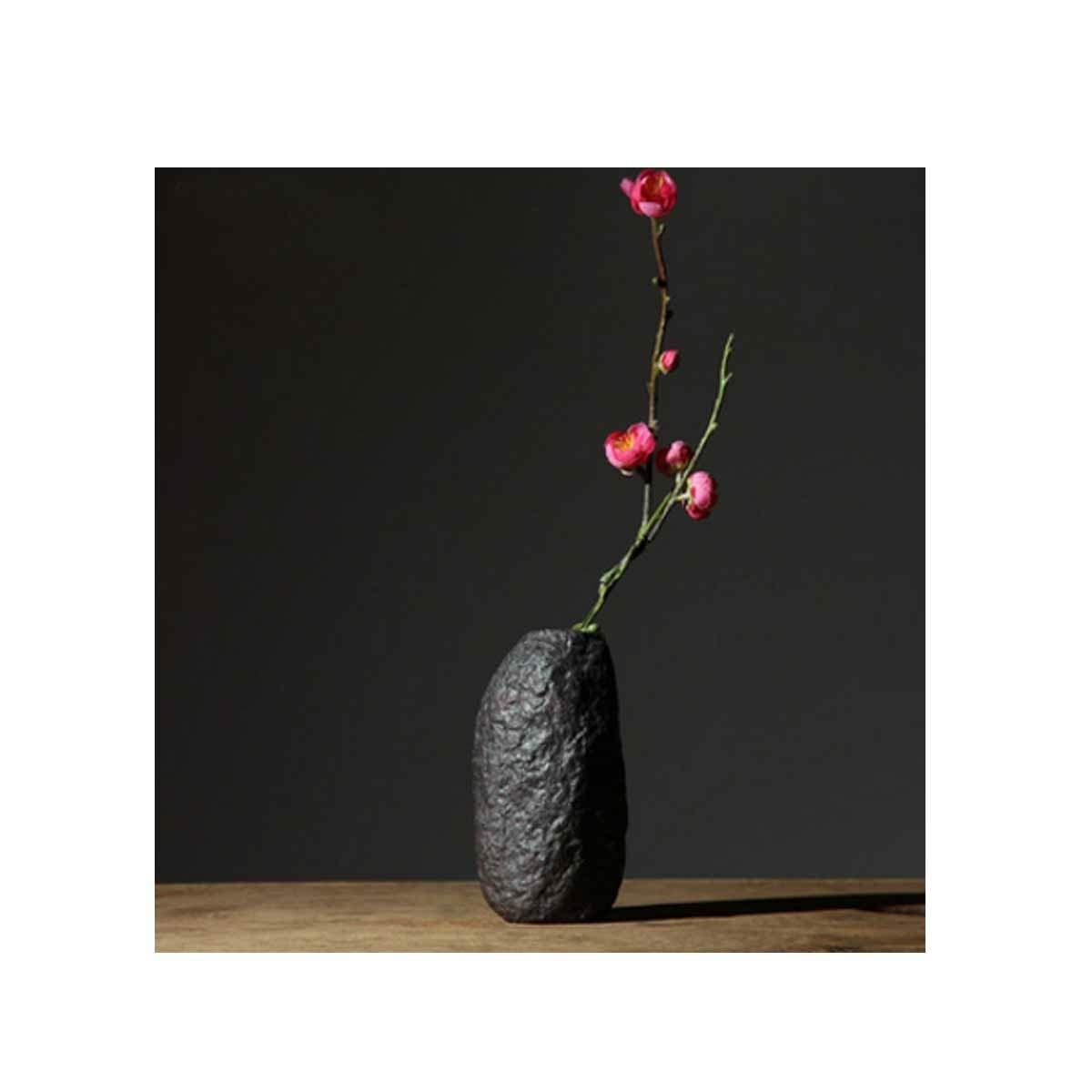 花瓶、オフィスおよび家の禅の装飾品に適した中国の新しい創造的な陶製の花瓶、黒 (Color : Black 1) B07RSZNBQF Black 1