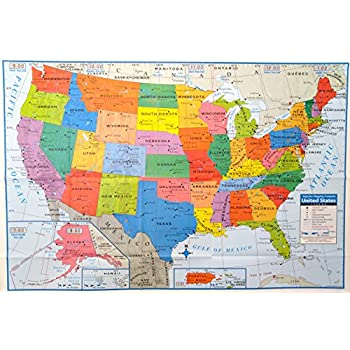 Amazoncom X Huge United States USA Classic Elite Wall Map - Usa map with cities and states detailed