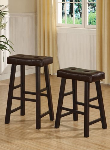 Set of 2 Counter Stool in Brown Finish Legs and Brown Faux Leather #PD F11239