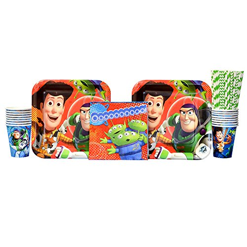 Cedar Crate Market Toy Story Party Supplies Pack for 16 Guests: Straws, Dinner Plates, Luncheon Napkins, and Cups for $<!--$24.99-->