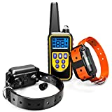 Dog Training Collar, F-color Waterproof and Rechargeable Dog Shock Collar 2600ft Remote Range with Beep Vibrating Shock LED Light for Medium and Large Dogs