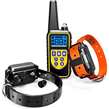 Dog Training Collar, F-color Waterproof and Rechargeable Dog Shock Collar 2600ft Remote Range with Beep Vibrating Shock LED Light for Medium and Large Dogs, 2 Electronic Collar Receivers Included