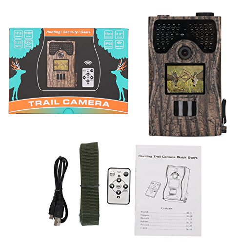 King Wisdom Camera 12MP 1080P Full HD Game & Hunting Camera 48pcs IR LEDs Night Vision up to 65ft/20m IP55 Waterproof 0.2s-0.6s Trigger Speed Wildlife Observation Security (Ntsc Capture Pal Security Card)