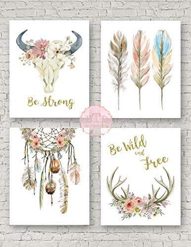 - Boho Nursery Print Wall Art Set of 4 Antlers Dreamcatcher Feathers Bull Skull Arrow Watercolor Gold Floral Baby Girl Room Prints Bohemian Decor