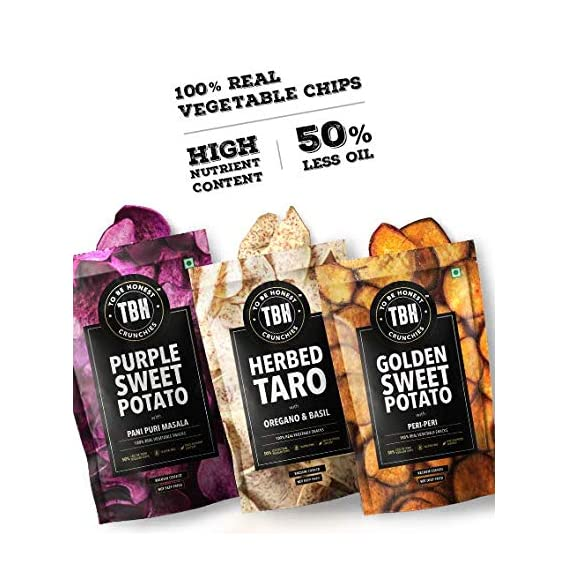 To Be Honest (TBH) 100% Real Vegetable Vacuum Cooked Chips, Purple Sweet Potato, Golden Sweet Potato and Taro Crunchies, Gluten-Free Snack -Combo Pack of 3 Variants