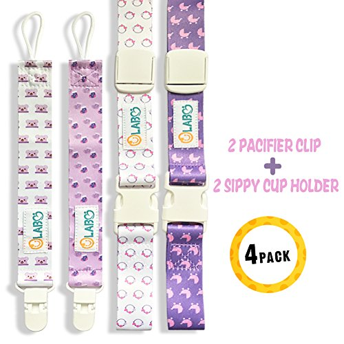 Pacifier Clip Sippy Cup Strap Bottle Strap for Stroller High Chair 4 Pack Gift Set for Baby Girls by OLABB