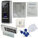 DIY Bio Fingerprint Door Entry Control System Power Supply Box(support backup battery)600lbs Force Electric Magnetic Lock + Waterproof Cover+RFID Card+Keyfobs+Exit Button