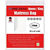 HOMEIDEAS 3 Mil Thick Mattress Bag for Moving and Storage, Not Clear Mattress Bag Protecting Mattress and Your Privacy,Pack of 2, Fits Queen and King Size