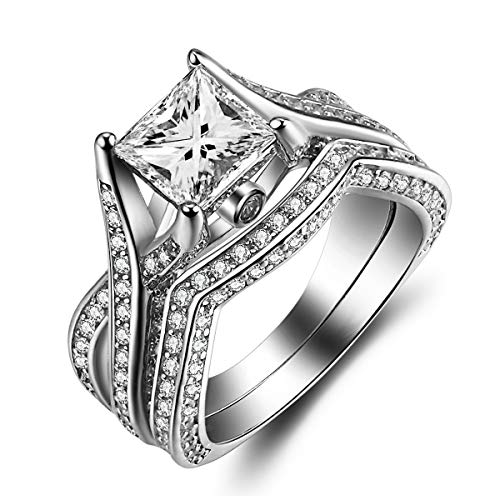 (Caperci Sterling Silver Princess-Cut Cubic Zirconia Engagement Wedding Band Ring Bridal Sets Size 9)