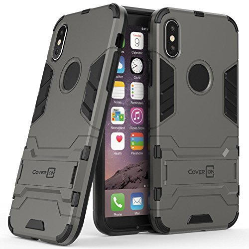 CoverON Shadow Armor Series Fit iPhone X Case with Kickstand, Modern Style Slim Dual Layer Protective Hybrid Phone Cover for Apple iPhone X / 10 - Gray -  L159-CO-APIPHX-HYS18-GY