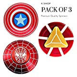 K.SHOP Fidget Spinner Iron Man, Spider Man & Captain America, Smooth Custom Round Hand Spinners with Ceramic Bearing, Metal and Durable. Stress Reducer Toy & Perfect for ADHD, ADD, Anxiety (3 pack)