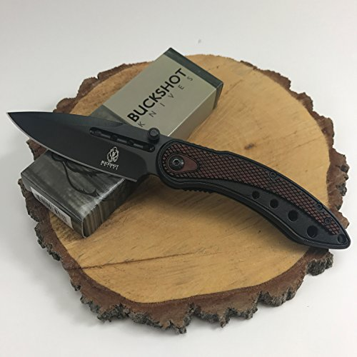 Buckshot Knives Thumb Open Spring Assisted Color Damascus Etched Stainless Steel Handle W/Damascus Etched Blade Pocket Knife (PBK207WD)