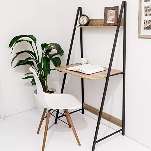 C-Hopetree Ladder Desk Student Computer Laptop Desk Office Table, Industrial Wood Look, Rustic Black Metal Frame Black Leaning Shelf Desk