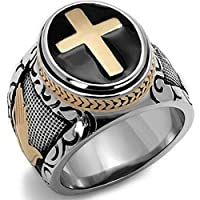 A.Yupha 7-15 Vintage Silver Gold Two-Tone Holy Cross Signet Ring Prayer Christian Jesus (8)