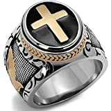 A.Yupha 7-15 Vintage Silver Gold Two-Tone Holy Cross Signet Ring Prayer Christian Jesus (11)