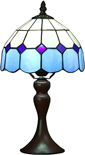 Bieye L10468 Sea Blue Mediterranean Tiffany Style Stained Glass Small Table Lamp