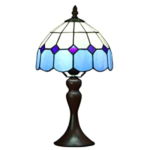 Bieye L10468 8 inch Mediterranean Tiffany Style Stained Glass Table Lamp with Blue Shade, 15 inch Tall