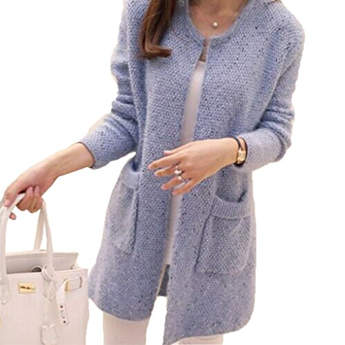 Masterein Femmes Printemps/Automne Mid Length Sweater Cardigan  Manches Longues Manteau en Laine corenne Slim Pocket Loose Knit Sweater Coat Bleu