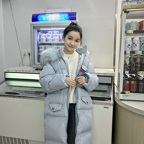 Xuanku Winter Oversized Fur Collar Hooded Sweater In The Long Section Of Thick Coat Coat Wide Loose Bread Service Light blue