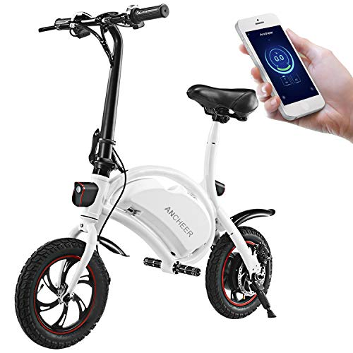 ANCHEER Folding Electric Bicycle E-Bike Scooter 350W Powerful Motor Waterproof Ebike with 12 Mile Range, APP Speed Setting (The Best Electric Bicycle)