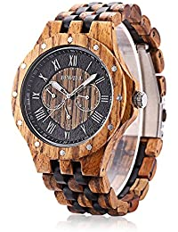 W116C Mens Wooden Watch with Date Day Luminous Hands...