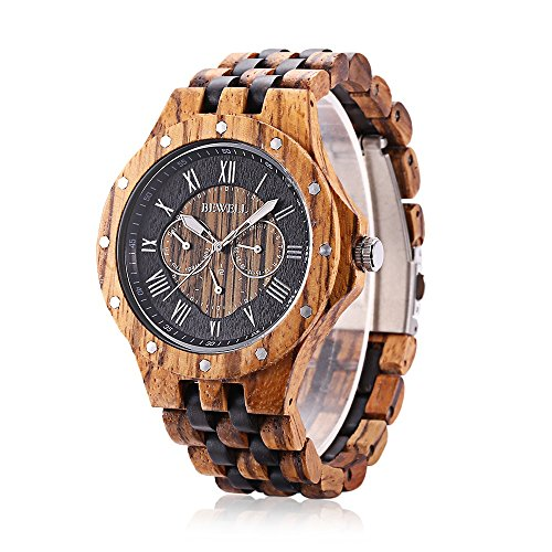 Bewell W116C Mens Wooden Watch with Date Day Luminous Hands Lightweight Wristwatch - Ebony Brown Light