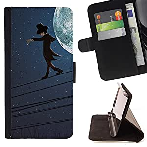 Devil Case- Estilo PU billetera de cuero del soporte del tir¨®n [solapa de cierre] Cubierta FOR Apple iPhone 6 6S 4.7 - Cartoon Moon walking