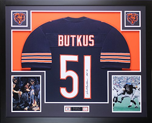 Dick Butkus Autographed Navy Bears Jersey - Beautifully Matted and Framed - Hand Signed By Dick Butkus and Certified Authentic by Auto JSA COA - Includes Certificate of Authenticity
