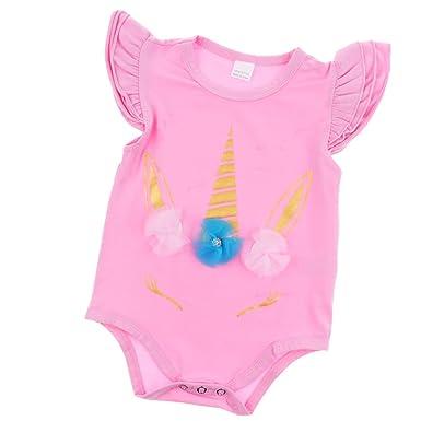 46348b22a975 Baoblaze Summer Infant Baby Girl Unicorn Romper Bodysuit Jumpsuit Outfits  Sunsuit Clothes  Amazon.co.uk  Clothing