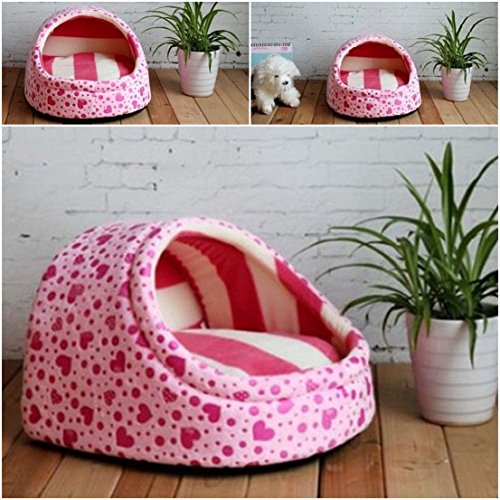 1 Pcs Culmination Popular Pet Half Covered Bed Size M Sweet Style Cat Pad Rug Soft Fabric Color Type Pink