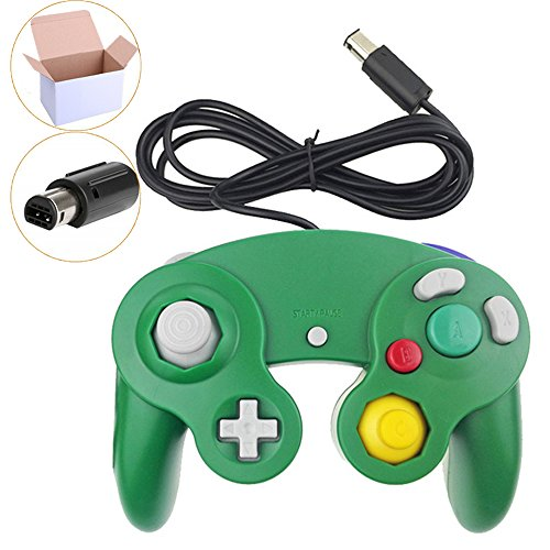 Poulep 1 Pack Classic Wired Gamepad Controllers for Wii Game Cube Gamecube console (Green)