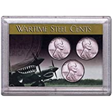1943 P, D, S Wartime Steel Cents 3 Coin Set in Whitman Holder Circulated