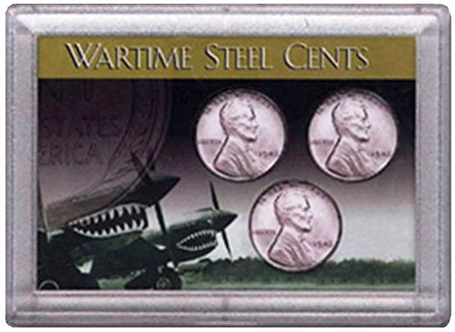 1943 P, D, S Wartime Steel Cents 3 Coin Set in Whitman Holder Circulated ()