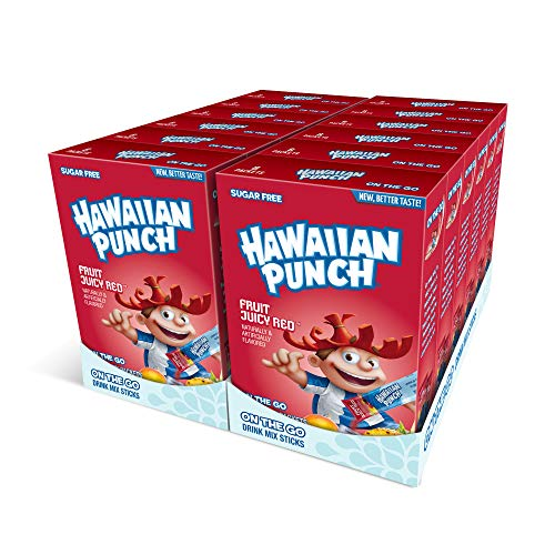 Hawaiian Punch, Fruit Juicy Red- Powder Drink Mix - (12 boxes, 96 sticks) - Sugar Free & Delicious, Excellent source of Vitamin C, Makes 96 flavored water beverages