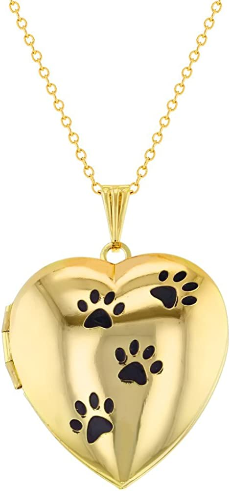 In Season Jewelry Gold Tone My Dog Puppy Bone Paw Heart Photo Locket Pendant Necklace 19