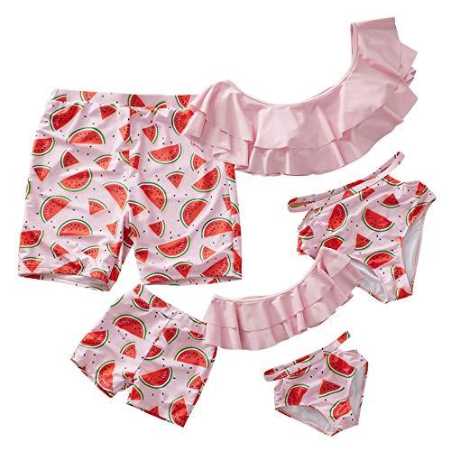 Yaffi Family Swimwear Mommy and Me Matching Two Piece Swimsuit Watermelon Print Bikini Set - Women: L ()