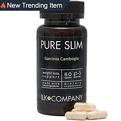 PURE SLIM Garcinia Cambogia Extract w/ 50% HCA - Knock Off Fat Cells! Extra Strength, Crafted High Quality Weight Loss Supplement, 60 Capsules, Made in the USA