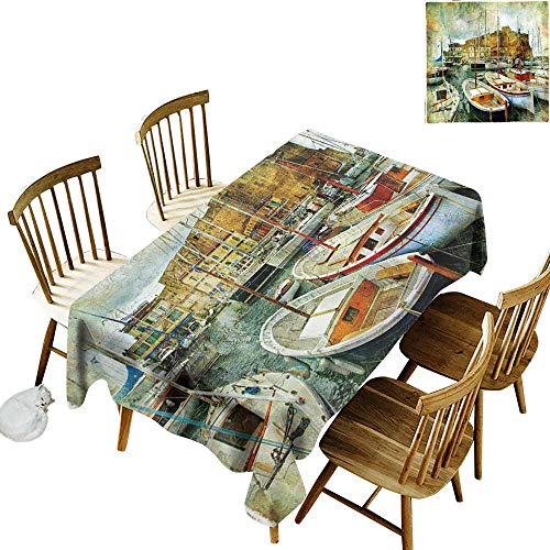 Marine Elastic edges fit the rectangular tablecloth Suitable for most home decor Naples Small Boats at Historical Italian Coast with Heritage Castle Nautical Artwork W60 x L102 Inch Multicolor