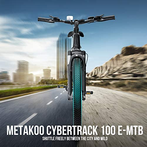 "METAKOO Electric Bike Cybertrack 100, 26"" Mountain Electric Bike, BAFANG 350W Brushless Motor, 3 Hours Fast Charge 36V/10.4Ah Removable Lithium Battery, Shimano 21-Speed, Suspension Fork"