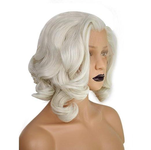 Amazon.com: Anogol - Peluca de pelo rubio con encaje frontal ...