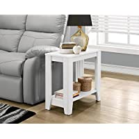 Small White Wood Accent End Table with Shelf Includes Custom Mouse Pad