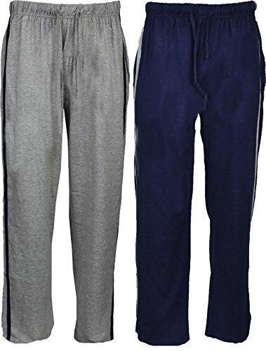 Mens Long Lounge Nightwear Bottoms/Pants (2 Pack) (L Waist 35-37in) (Black/Grey)