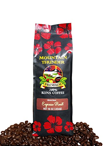 100% Kona Coffee Espresso Roast - 1 Pound Premium Gourmet Whole Bean by Mountain Thunder Coffee Plantation