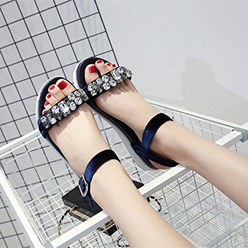 Xing Lin Sandalias De Mujer Sandalias De Cuero Verano Mujer Zapatos Con Plataforma Rhinestone De Terciopelo Antideslizante Casual Sandalias Femenina De Estudiantes blue
