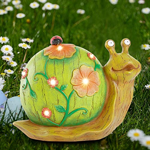 Juegoal Garden Statue Snail Figurine Solar Powered Outdoor Lights for Garden Yard Lawn Decoration