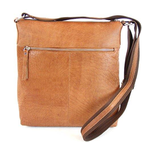 Pavini Damen Tasche Crossovertasche Dallas Leder cognac 9321 Reißverschluss groß