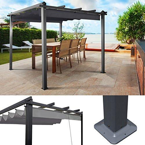 ProBache – Pérgola cenador de aluminio de con techo retráctil de color gris (3 x 3m): Amazon.es: Jardín