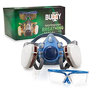 Breath Buddy Respirator Mask (Plus Safety Goggles) Reusable Professional Breathing Protection Against Dust, Pollen, Pesticides, and Organic Vapors - Perfect For Painters and DIY Projects