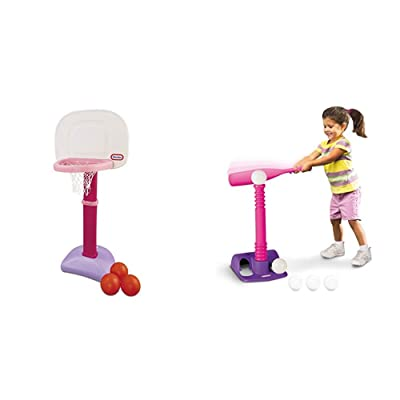 Little Tikes Easy Score Basketball Set (Pink, 3-Balls) and T-Ball Set (Pink, 5-Balls) - Bundle: Toys & Games