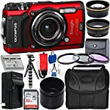Olympus Tough TG-5 Digital Camera (Red) with Deluxe Accessory Bundle -...